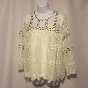 Anthropologie Maeve Ivory Blouse size Medium